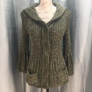 BCBGMaxazria hooded cardigan with bell sleeves